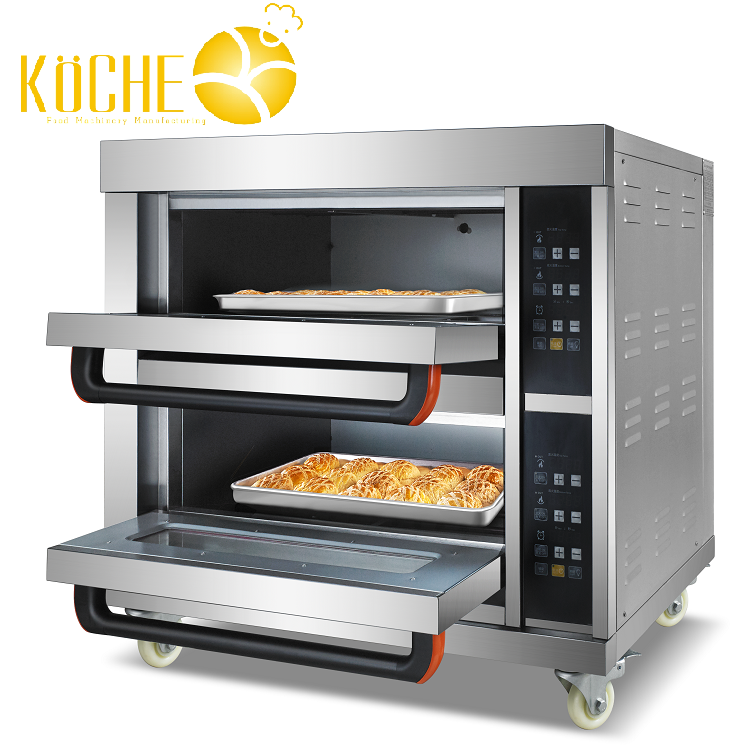 Two 2 deck layers 4 four trays pans Manufacturing Convection bakery pizza bread cake Electric Oven deck oven
