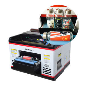 A3 UV Flatbed Automatic Bottle Printer, A3 Small Size UV Flatbed Printer With Rotary