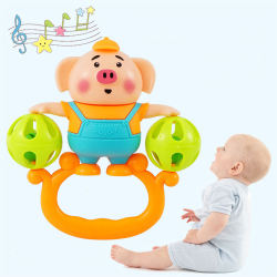 Baby Toys Hand Hold Jingle Shaking Bell Lovely Pig Hand Shak