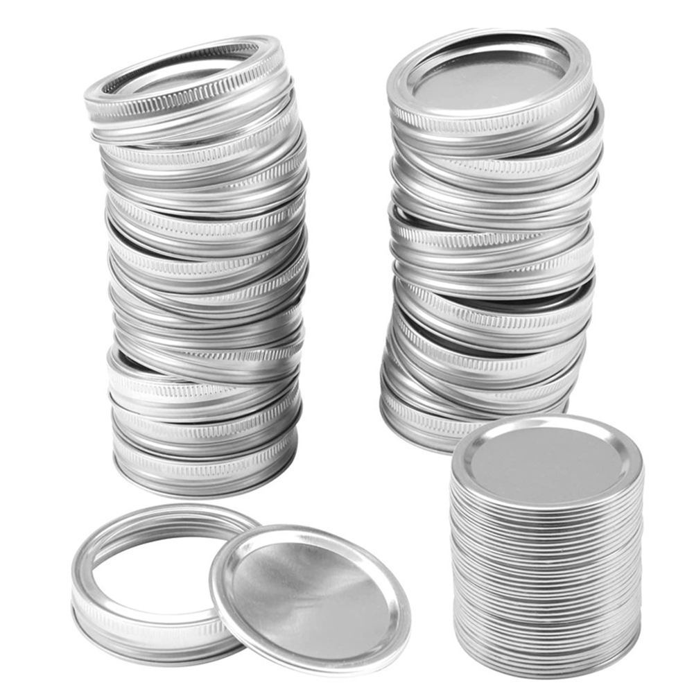 10/12/24PC Tinplate Mason Canning Covers Leak Proof Sealing Food Keeping Fresh 70/86MM Wide Regular Mouth Mason Canning Jar Lids