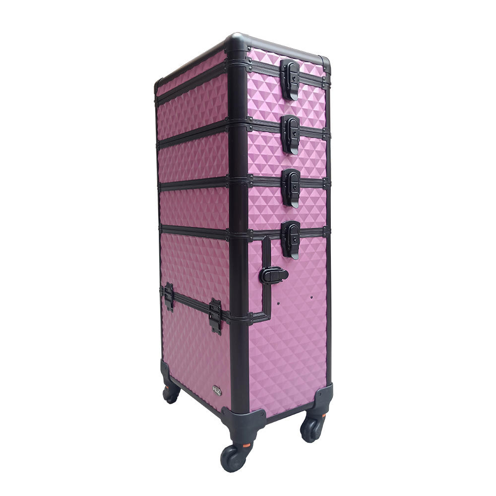 professional 4 in 1 beauty travel rolling make up artist train makeup cosmetic organizer trolley case on wheels