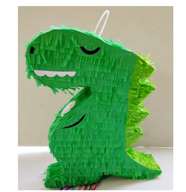 kids birthday party supplies photo props woodland design pinata for candy or toys green dinosaur paper pinata