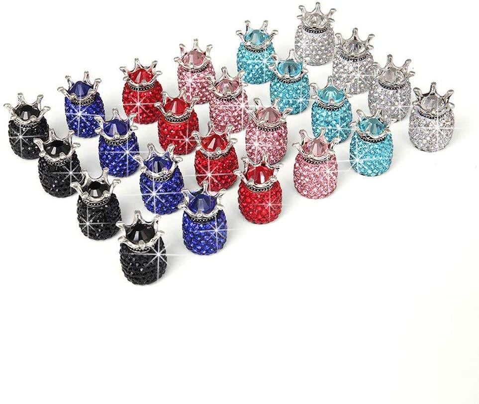 Attractive Handmade Universal Aluminum Crystal Rhinestone Car Tire Caps Crown Bling Black Crystal Tire Valve Caps