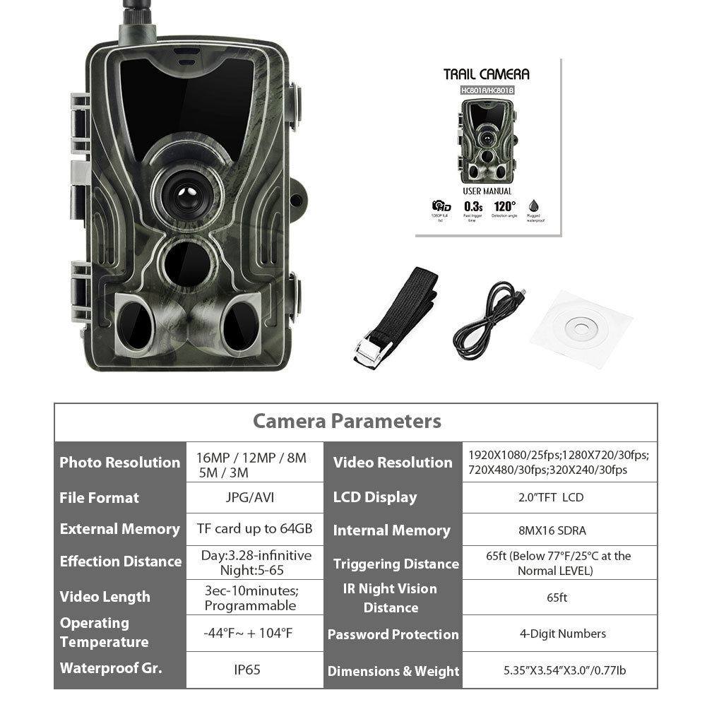 Trail Camera Wireless Infrared Hunting Camera 3G 12MP 1080P Video Transmission Trail Camera