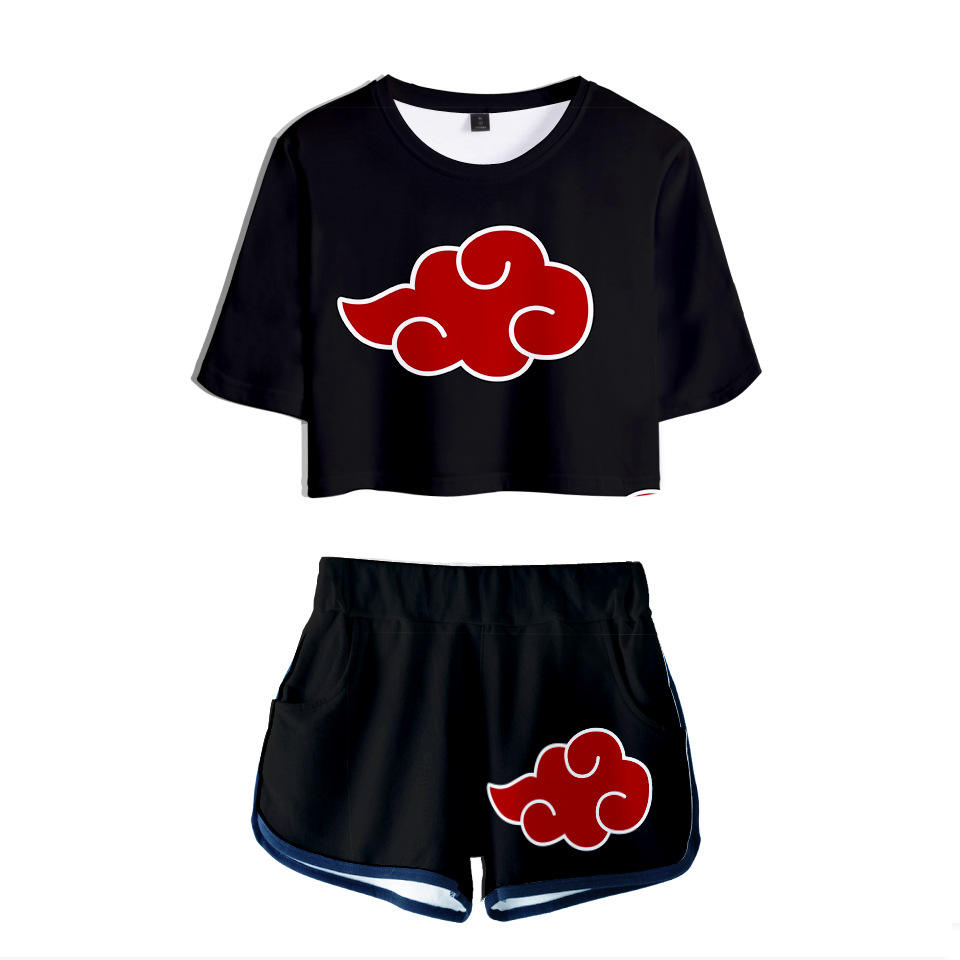 Ins Fashion 2 Piece Suit Set Printed Anime Uzumaki Naruto Kakashi Cosplay Crop Short Shirt for Girls