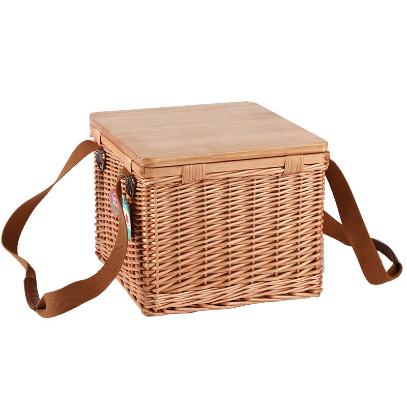Wholesale Handcrafted Square Weaving Design Rattan Picnic Basket Cooler Food Hamper With wooden lid Carrying Handles