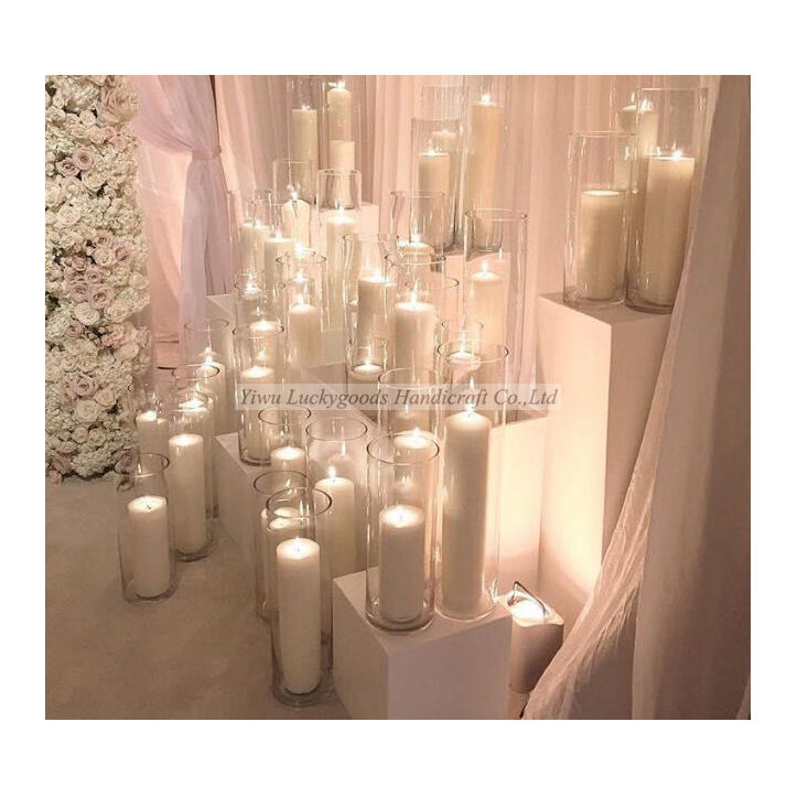 Transparent cylinder shape wedding glass vases wholesale