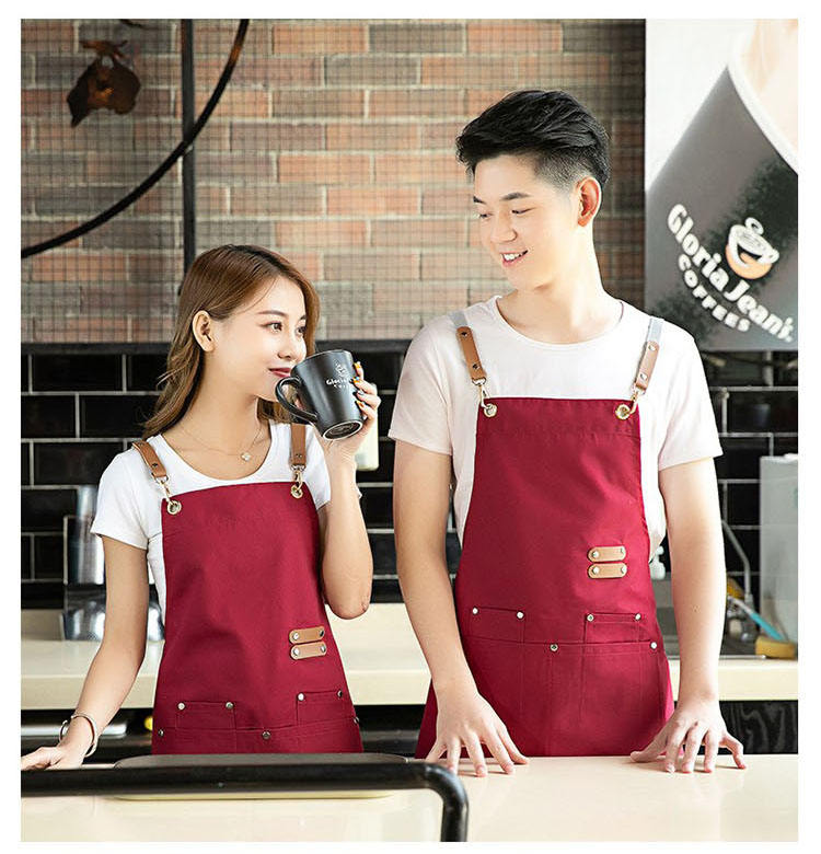 High End Chef Wear Heavy Duty Canvas Working Shop Multy Use Leather Strap Apron