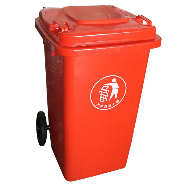 240 liter outdoor transport plastic garbage bin with wheels
