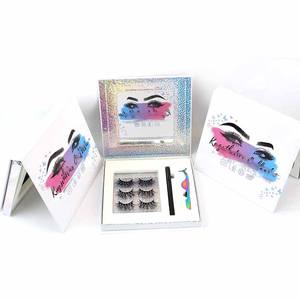 100% handmade mink eyelash strips custom eyelash boxpackaging grafting eyelash