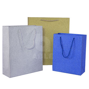 sliver color glitter gift bag customized stamping clothing packaging glitter paper bag S/M/L shopping carrier bags stock supply