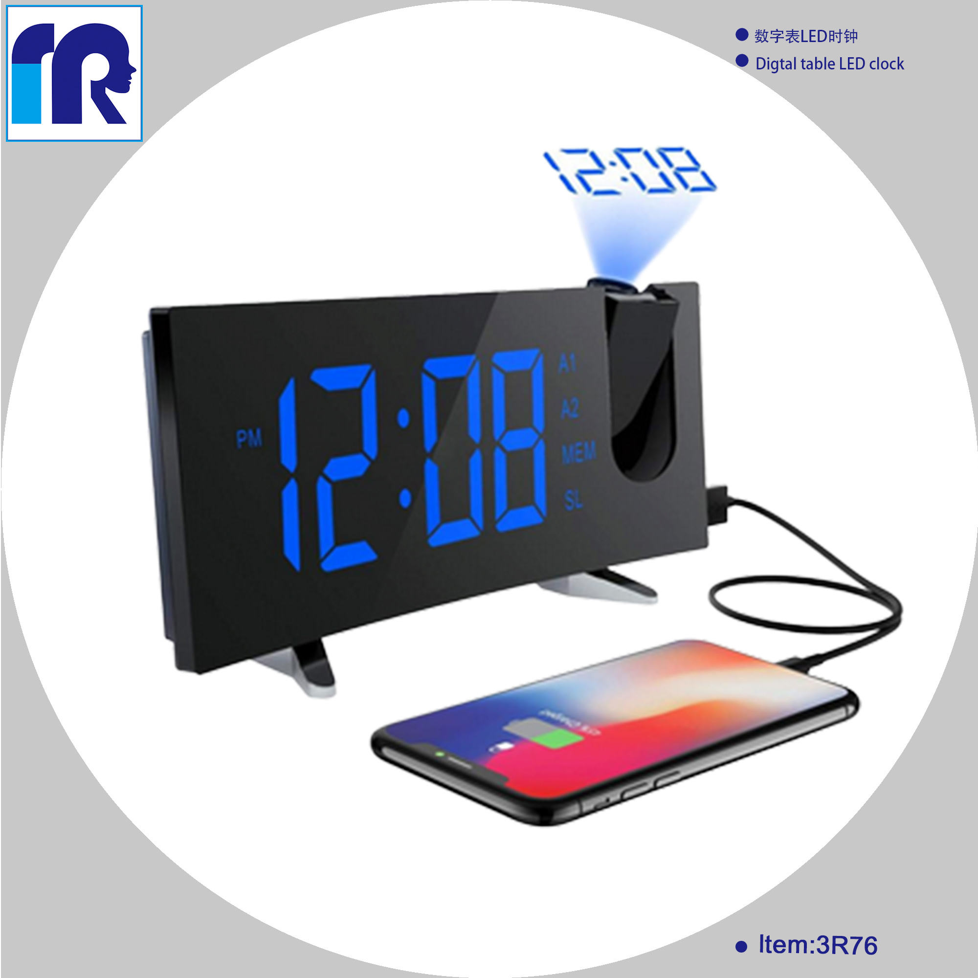 Digital Night LED Light USA Projection Alarm Clock Dual Alarms with Snooze FM Radio & Timer Function Battery Backup & USB Chargi