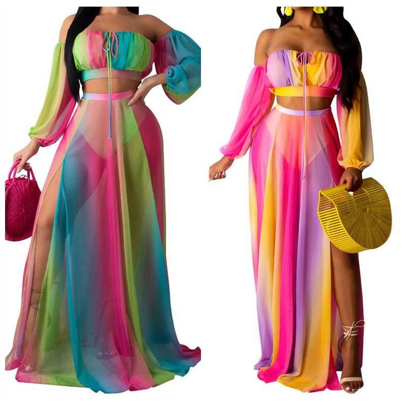 2020 See Through Two Pieces Colourful Stripe Beach Wear Custom Chiffon Beach Cover Up and Swimwear Coverups