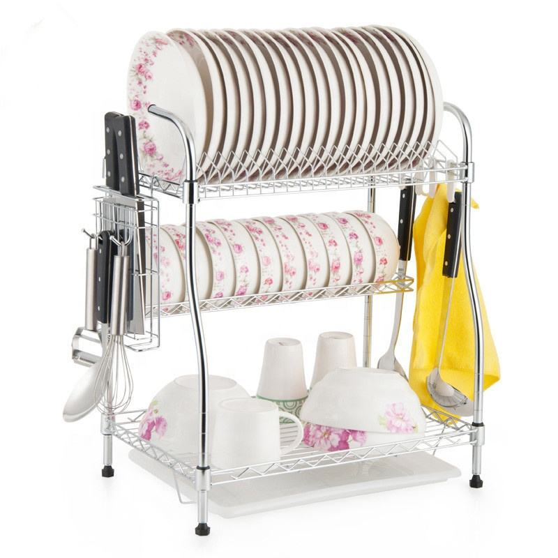 DIY 3 Tiers Patent Metal Kitchen Plate Rack , Dish Rack and Drainboard On Tabletop