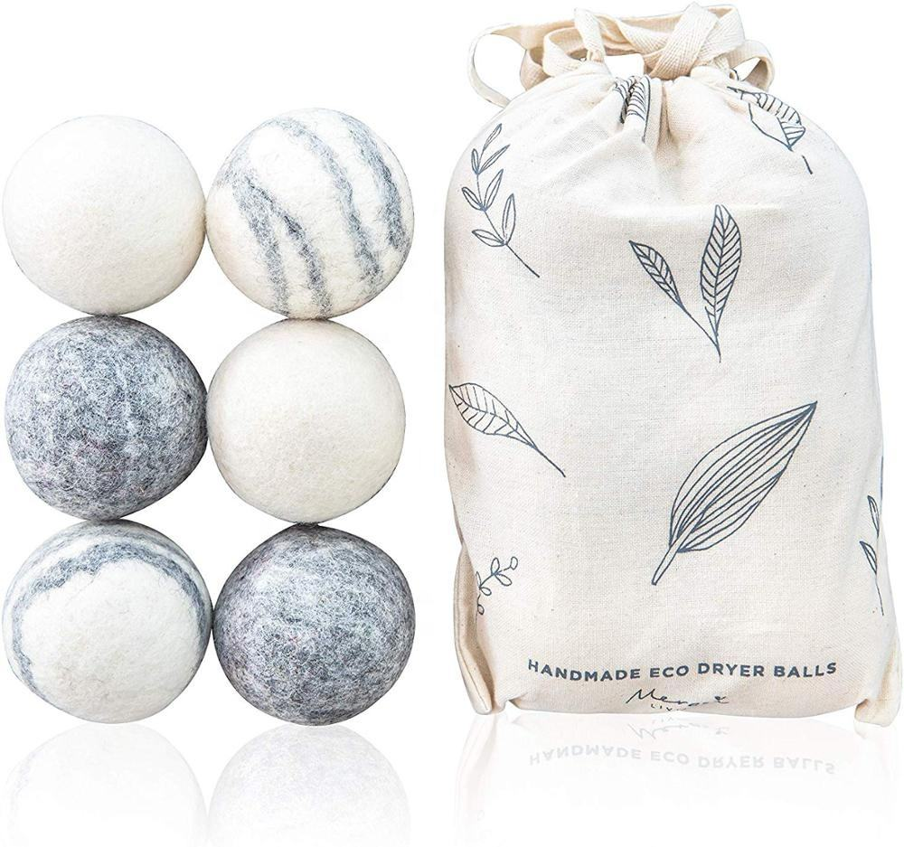 Wholesale 6 Pack Eco Friendly Laundry Wool Dryer Balls with Cotton Bag