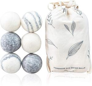 Commercio all'ingrosso di 6 Pack Eco Friendly Lavanderia Lana Dryer Balls con il Sacchetto di Cotone