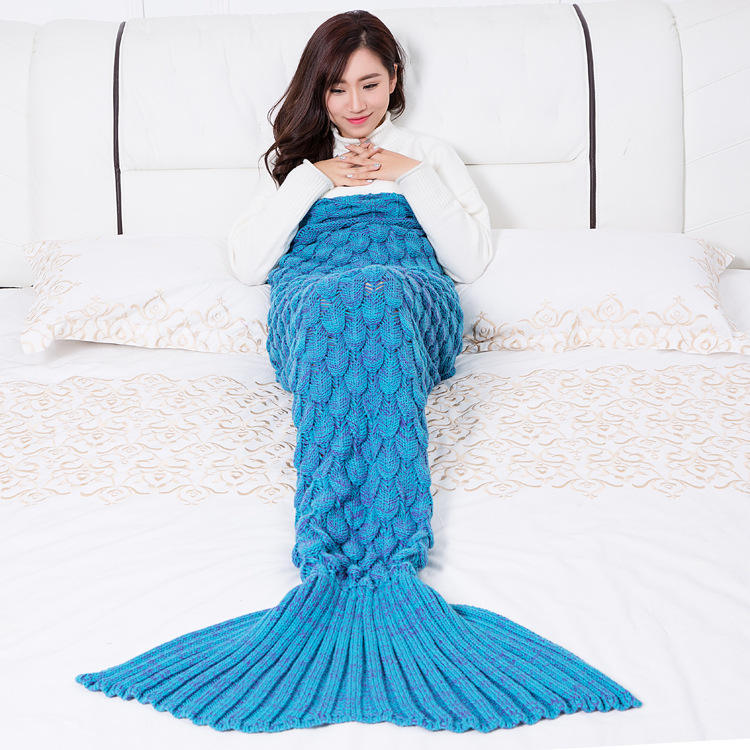 Birthday Gift 100% Acrylic Faux Cashmere Scale Knitted Adults Blanket,Kids Snuggle Mermaid Tail Blankets#