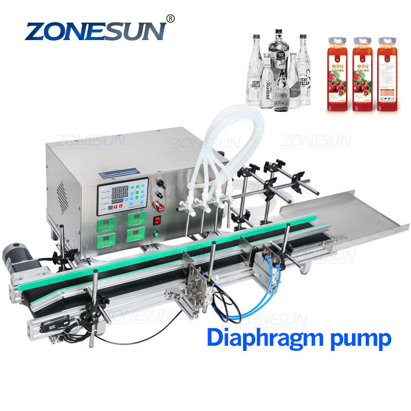 ZONESUN Full Automatic Desktop CNC Liquid Filling Machine With Conveyor 110V-220V For Perfume Filling Machine Water Filler