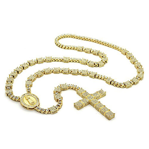 14k gold finished iced out mens rosary chain hip hop rosary necklace