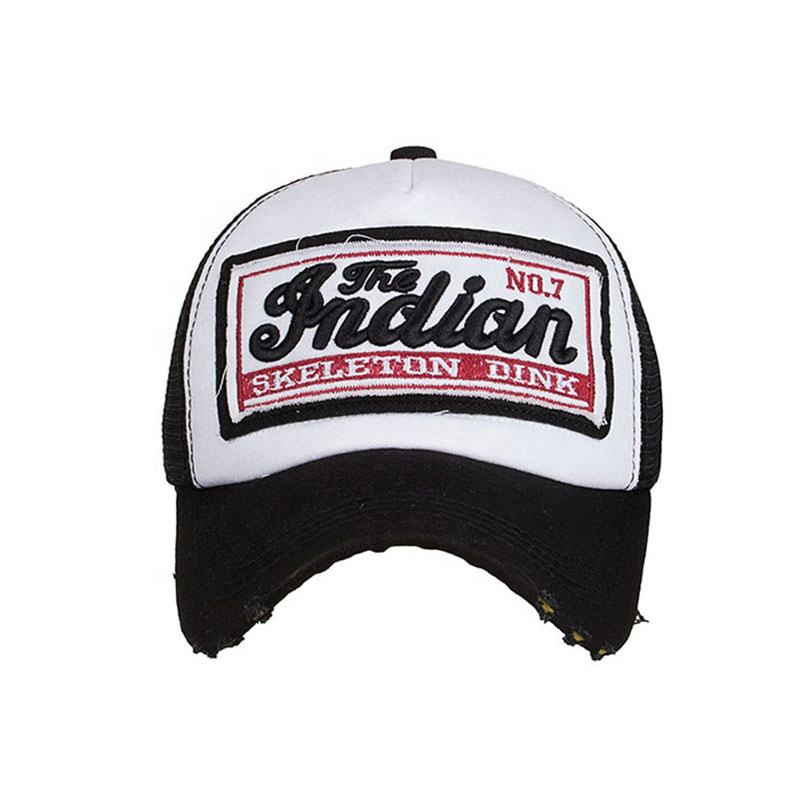 High quality custom applique embroidery fashion distressed trucker hat mesh design your own logo