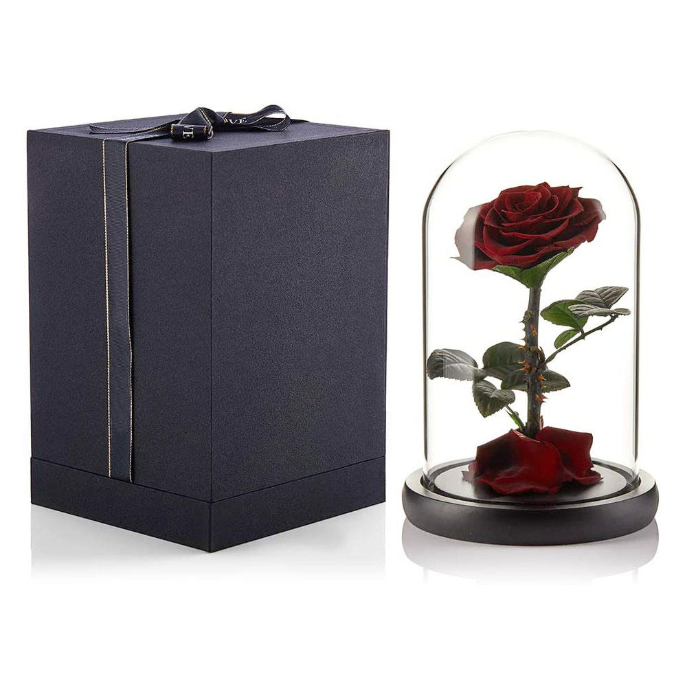 Luxurious Christmas Gift Infinite Eternal Forever Red Beast Flowers preserved rose in glass dome