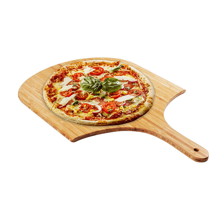 Natural custom kitchen bamboo wooden pizza peel paddle cutting board serving board