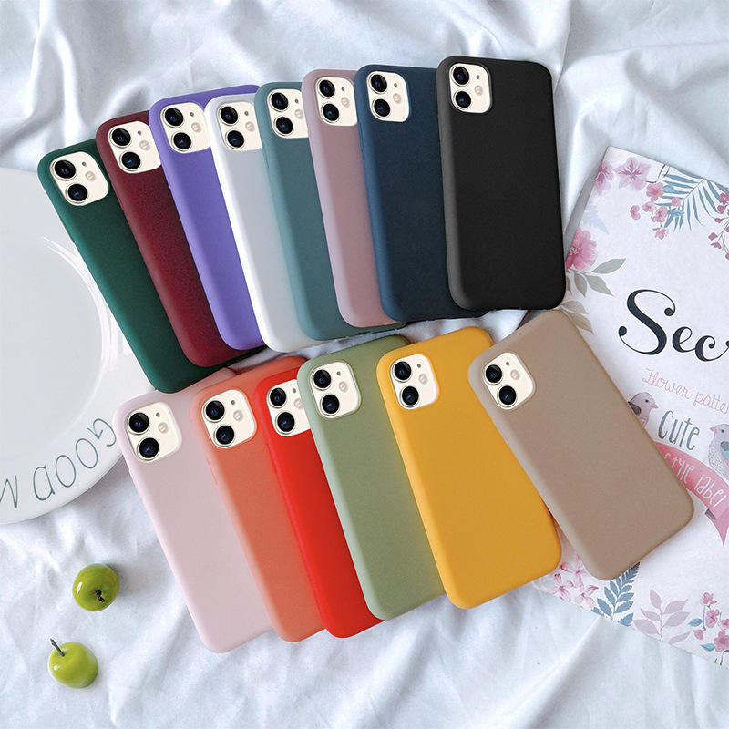 High quality candy colors cell phone case cover matte ultra thin soft tpu cases for iphone xsmax 11 7plus phone cover waterproof