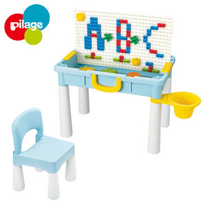 Portable children learning educational table with DIY big and construction toy building blocks creativity toys