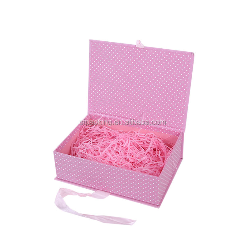 Pink gift box packaging with ribbon