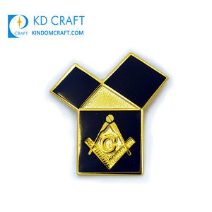 Golden supplier china custom metal zinc alloy hollow out gold color freemason mason masonic lapel pins for suit