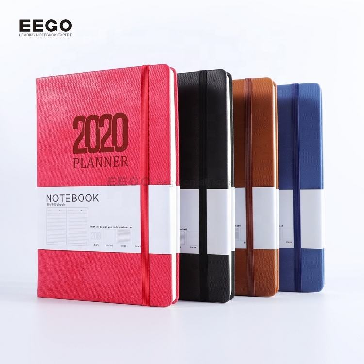 new design hardcover personalized printed logo custom pu leather cover a5 2020 diary with pen holder