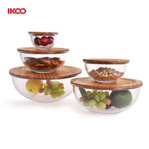 Eco friendly microwave safe oven safe high borosilicate glass salad bowl with bamboo lid