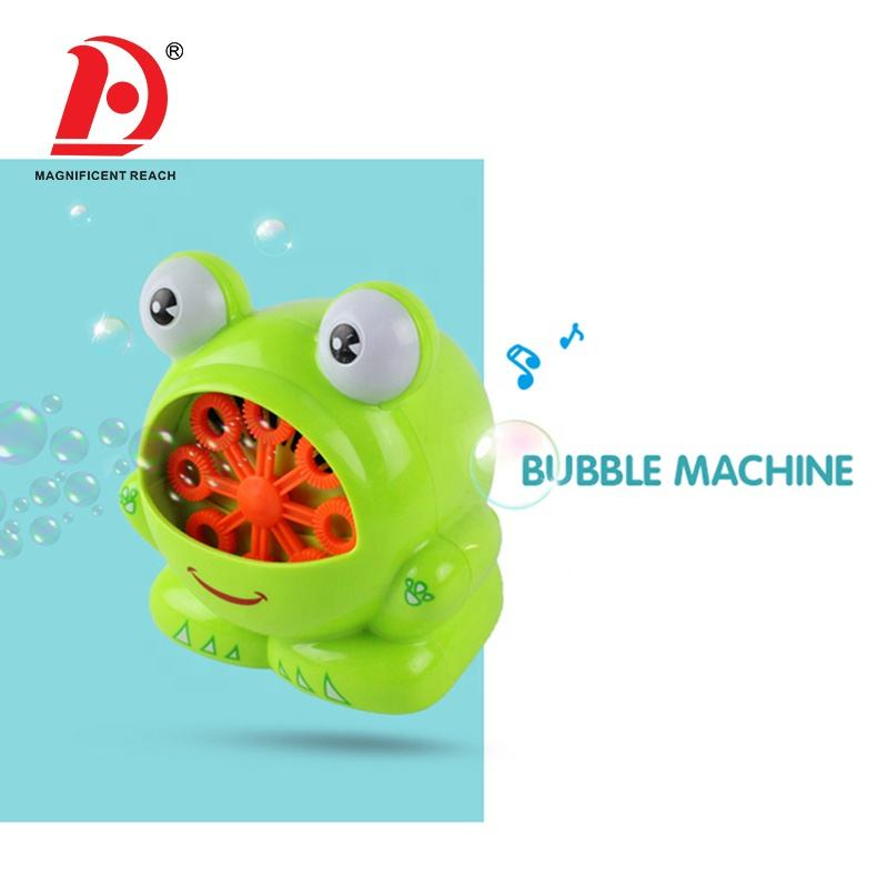 HUADA 2020 Interesting Cartoon Frog Battery Operated Soap Water Bubble Machine Toy for Kids