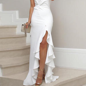 The new European and American long flounce ruffled slit dress evening dress