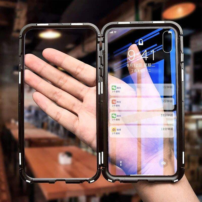 360 Full Magnetic Adsorption Case For iPhone X Xs Clear Double-sided Glass+Built in Magnet Case