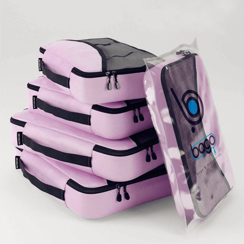 Justop 4pcs Set Packing Cubes For Travel, Different Colors Suitcase Luggage Travel Bag Set