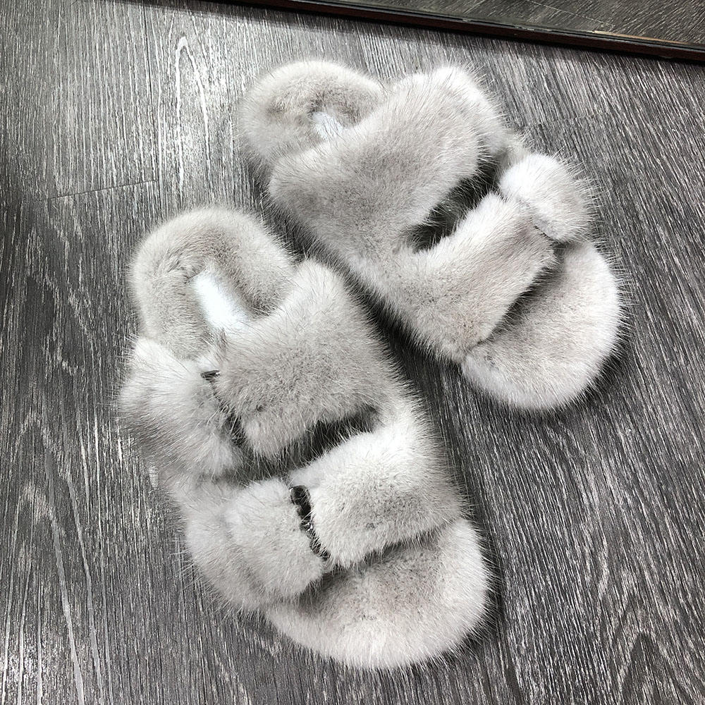 high quality women natural mink fur slides ladies real fur slippers house fluffy slippers