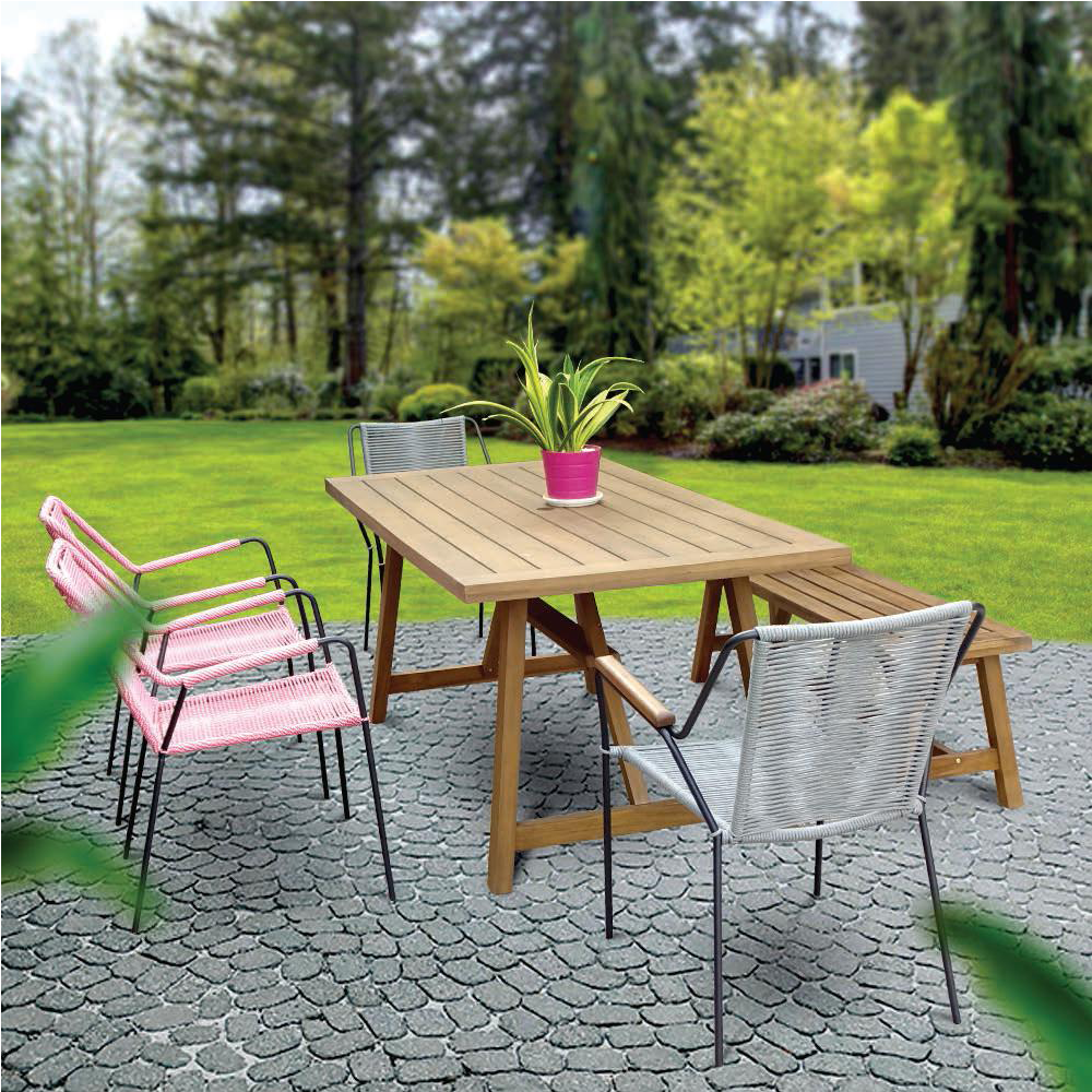 OC018 - Rope mix wood outdoor dining set | rope chair wood table aluminium frame