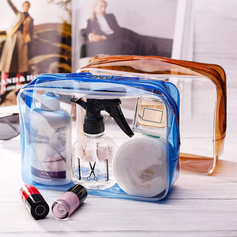 Custom logo wholesale small zipper ziplock clear travel waterpoof transparent pvc makeup pouch cosmetic bag
