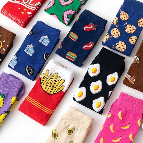 Funny cute Fruit food animal sock for women Bulk wholesale custom premium cotton socks women calcetines