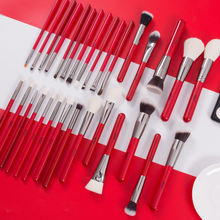BEILI Brand Red Silver Professional  30pcs natural hair foundation powder eye brow  custom logo Makeup Brushes set Tools kit