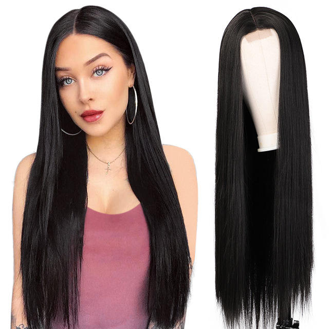 Vigorous 30 Inches Long Straight Hair Extension Wigs Ombre Heat Resistant Full Cheap Woman Synthetic Hair Wig With Lace Front