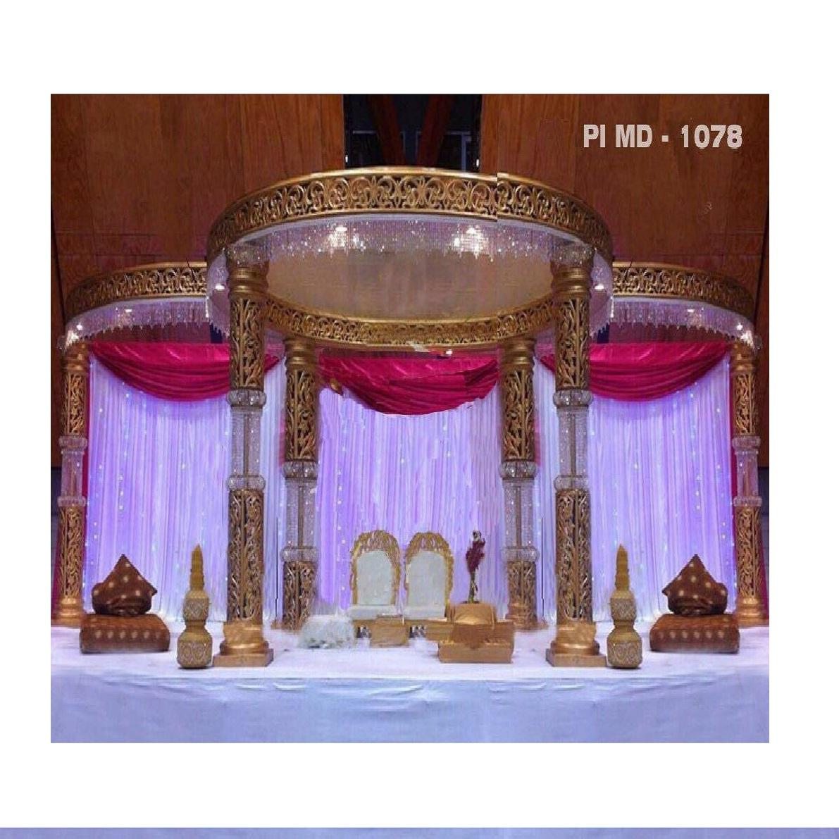 Newly Designed Hindu Wedding Mandap Wedding Golden Fiber Mandap for Sale Golden Indian Wedding Decoration Mandap