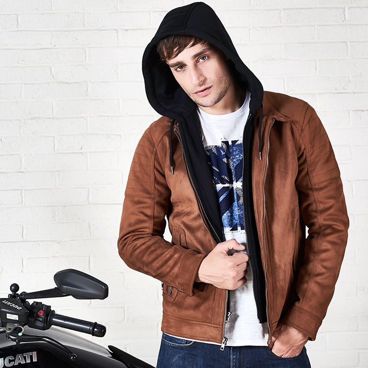 Custom Winter Fashion Pilot Thick Motorcycle Suede leather Jacket For Men Leather Coat Hooded