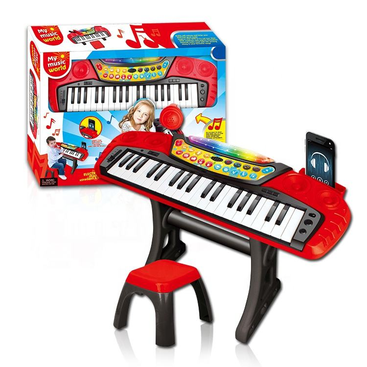 Kids Baby Electronic With Chair Microphone Musical Instrument Set Mini Music Plastic Toy Piano