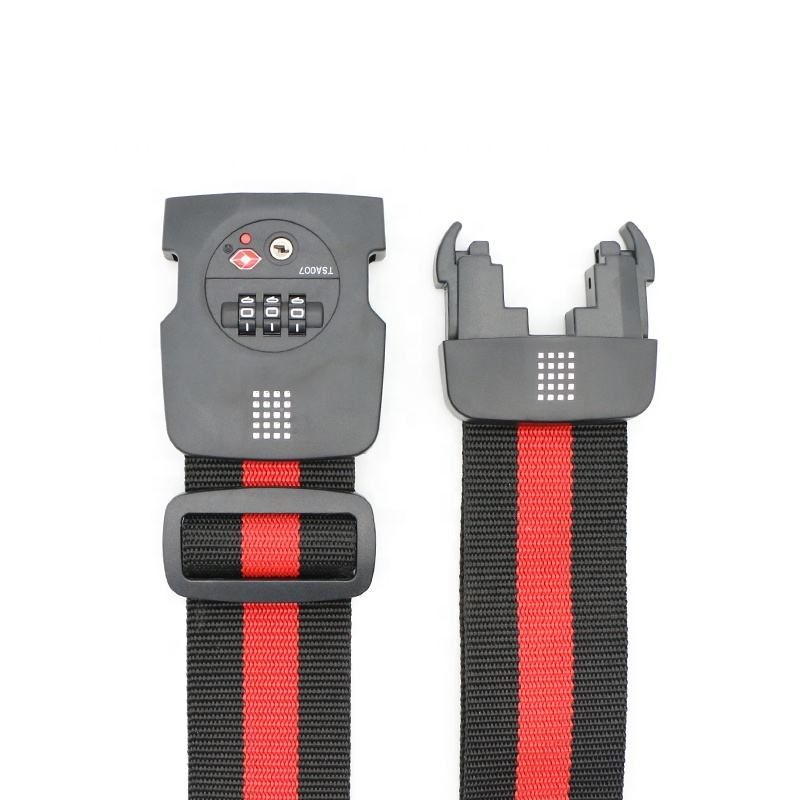 Travel Luggage Suitcase Belt with 3-dial TSA Lock, YiF Strap Buckle with red dot and stronger buckle design with patent