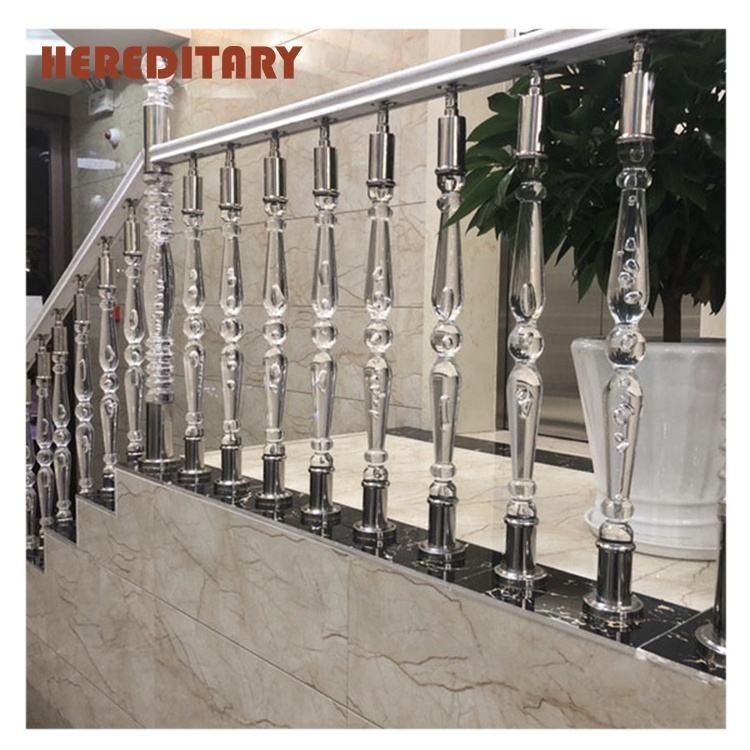 clear acrylic staircase pillar baluster handrail for decoration