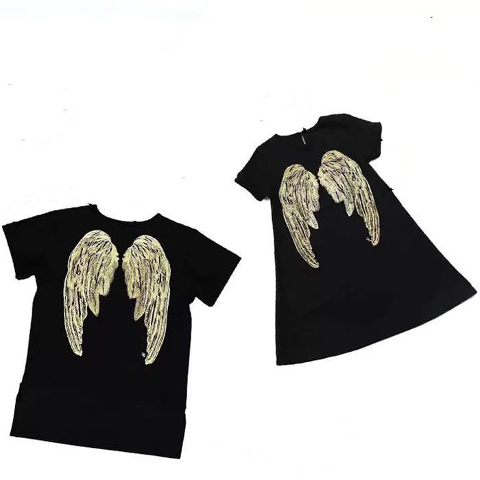 Ins Hot Sale Mommy and Me Outfits Angel Wings Short sleeved T-shirt Dresses Father and Son T shirt family set matching clothes