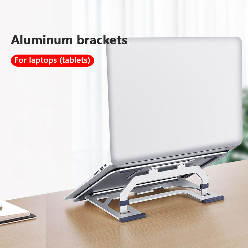 D9element Aluminum Adjustable Laptop Computer Holder Desk Stand Support Bracket Foldable Portable Tablet Computer Holder