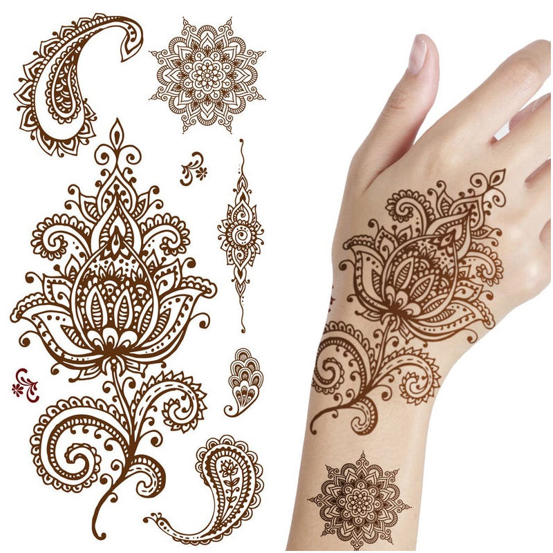 Henna Hand Body Tattoo Sticker Burnt Color Henna Stencil